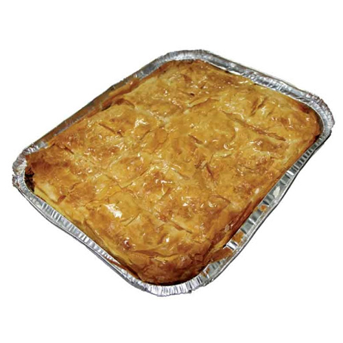 A classic Greek dessert of delicious custard encased in crisp layers of filo pastry, baked till golden brown and soaked in a sweet syrup.A delicious dessert!