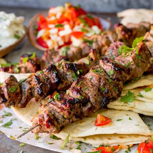 Lamb Souvlaki - Grilled Greek Specials, Salates, Salads, Antreu, Straters, Pickup, Delivery, Restaurant Decebalus
