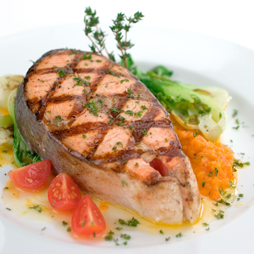 Salmon Steak- Thallasina, From the Sea, Salates, Salads, Antreu, Straters, Pickup, Delivery, Restaurant Decebalus